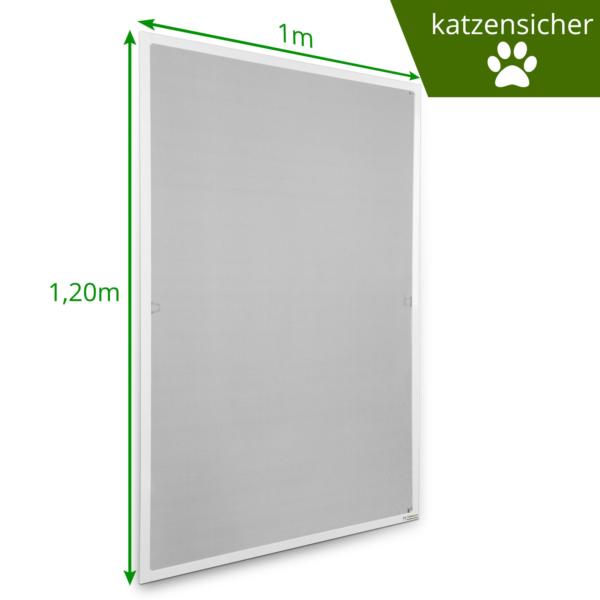 Fliegengitter Rahmen weiss 100x120 katzensicher